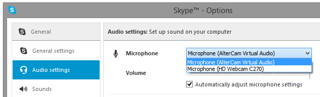 Select AlterCam Virtual Audio in Skype