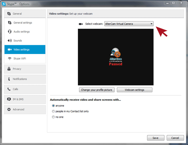 AlterCam: selecting virtual webcam in Skype