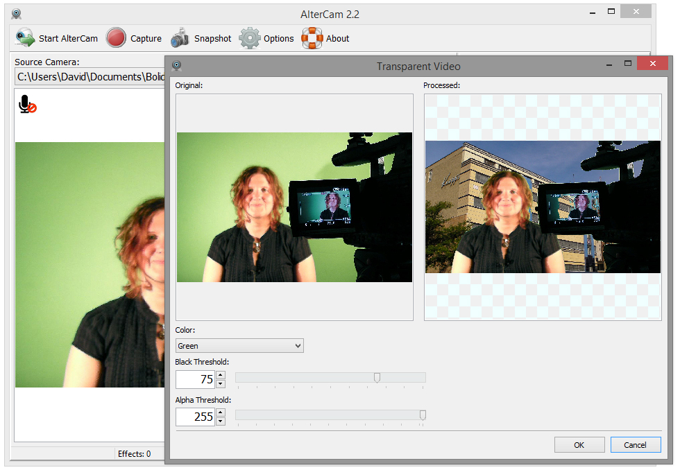 Checking background with Chromakey in AlterCam