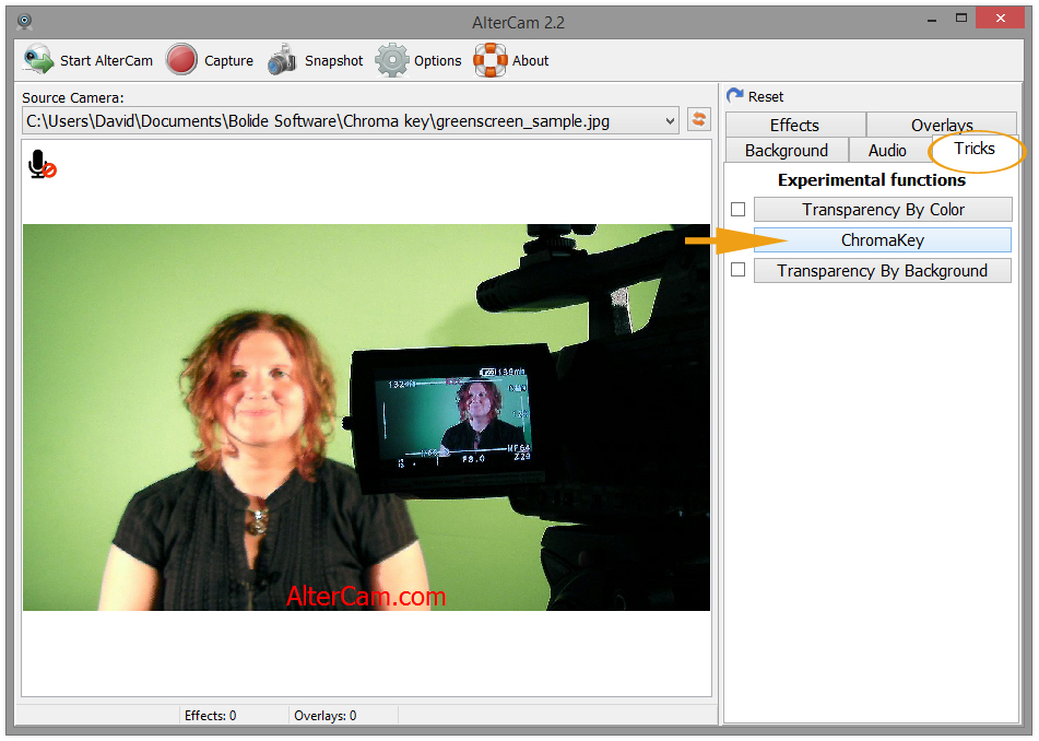 Select Chromakey tab in AlterCam